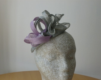 Silver and Purple Fascinator reduced