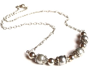 Grey Pearl Necklace. Majorica Pearls Necklace. Handmade Necklace. Handcrafted Jewelry. Wedding Jewelry. Bridal Jewelry