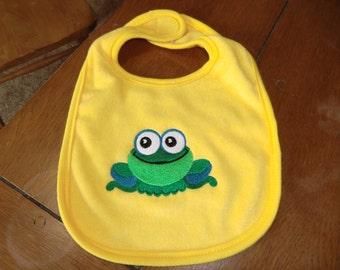 Embroidered Baby Bib -  Wide-Eyed Frog - Yellow Bib