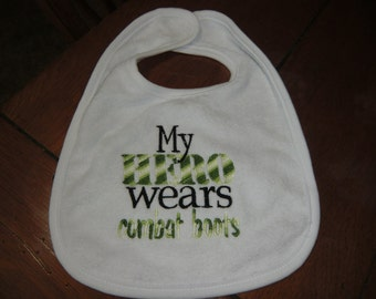 Embroidered Baby Bib - My Hero Wears Combat Boots