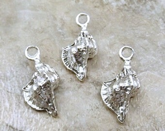 Set of 3 Pewter Conch Shell Charms - 5539