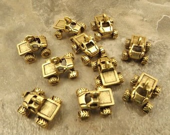 10 Gold Tone Pewter Monster Truck Charms  - 5417