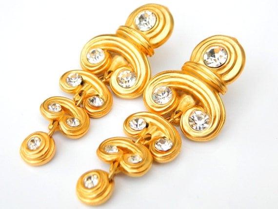Blanca Designer Earrings Gold And Crystal Chandelier Vintage