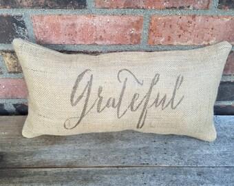 Burlap Grateful Pillow