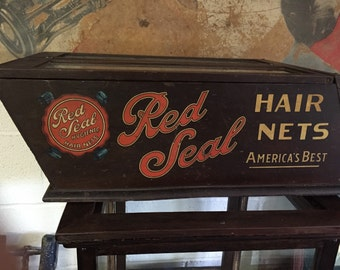 SALE RARE Old country store display case for Red Seal Hair Nets