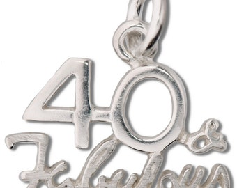 Sterling Silver 13x11.5mm Forty 40 and Fabulous Charm (SKU 427 - CHSS-MS-40-FAb)