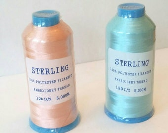 Sterling 100% Polyester Filament Embroidery Thread 120 D/2 5000 Meter Cones by Gunold + Stickma, Set of 2, 1 Pink and 1 Blue Cone, Destash