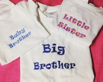 Embroidered siblings shirts set of 3