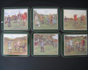 Vintage Golf Coasters, Set of Six