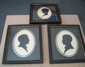 Vintage Framed Silhouettes, Set of Three