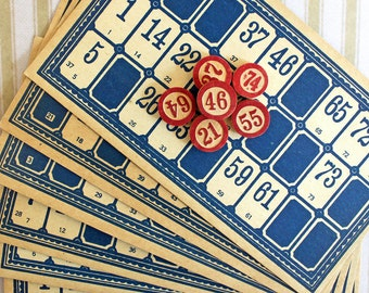 Vintage Blue Lotto Cards*Set of 6 with Wooden Number Markers