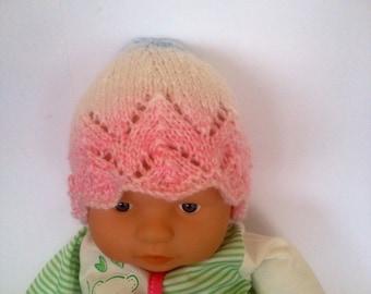 Hippie rainbow multi Ooak unique designer baby girls hand knit,crocheted beanie cap,newborn to 3 months,flower photo prop fall white lace