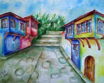 Wall art decor, colorful wall art, watercolor landscape, landscape painting, landscape art, watercolor wall art, original watercolor art
