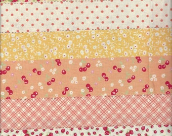 Floral Stripe in Peach (Col D) from the 30's Collection by Atsuko Matsuyama for Yuwa of Japan