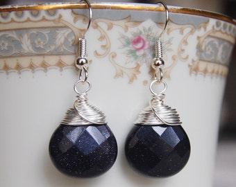Blue Goldstone Earrings , Navy Silver Earrings , Gemstone Earrings