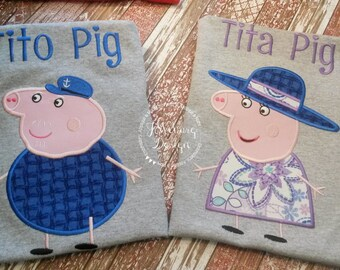 Peppa Pig Family Granparent Pig Birthday Custom Tee Shirt - Customizable -   Adults 210