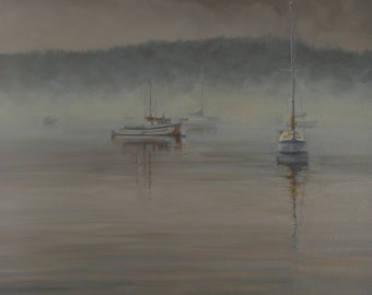 Fog - Friday Harbor - Original Oil Painting - Impressionism - Seascape - Morning - San Juan Island - Washington - Sea - Masts - Boats - Sail