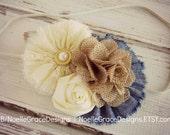 Chambray, Lace & Burlap Fabric Flower Headband - girls, baby, newborn, toddler, bows, photography, prop, bow, cream, ivory, rustic wedding