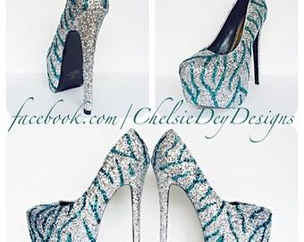 Navy Blue High Heels Glitter High Heel by ChelsieDeyDesigns
