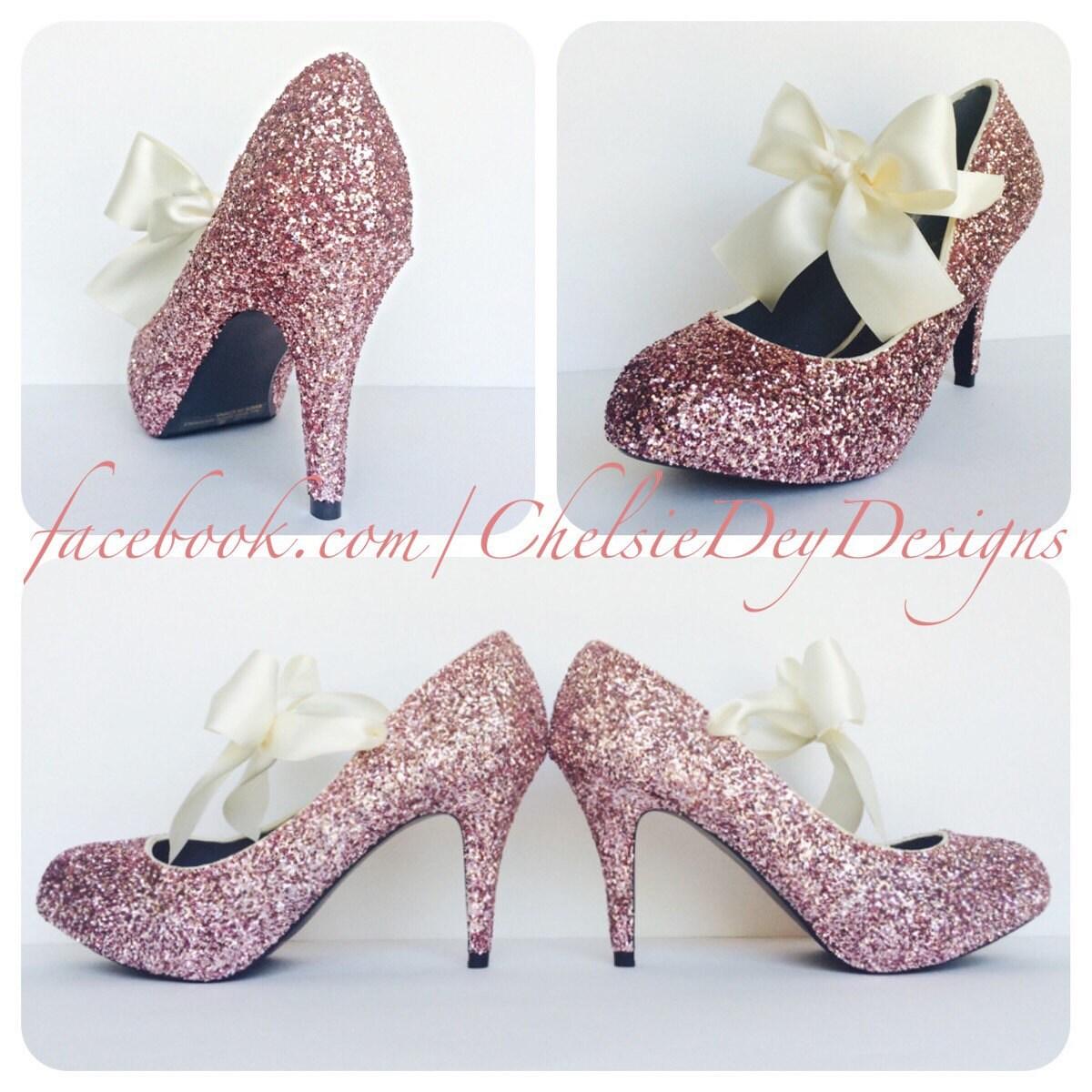 Pale Blush Light Pink Rose Glitter Pump Pump High Heels with