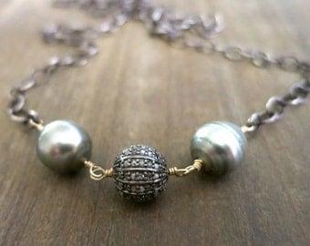 Gray Tahitian Pearl diamond necklace, Tahitian pearl diamond bead asymmetrical long necklace, Boho hippie layering,fine jewelry, rustic glam