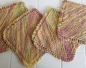 Set of Four Cotton Dishcloths,Hand Knitted,Dish Cloth,Brown,Green,Woods, Guy, Woodland,Kitchen,Gift Ideas,Cotton Cloths, Gift