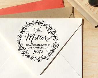 Floral Wreath Custom Return Address Stamp, family stamp, rustic stamp, housewarming gift, wedding gift, birthday gift