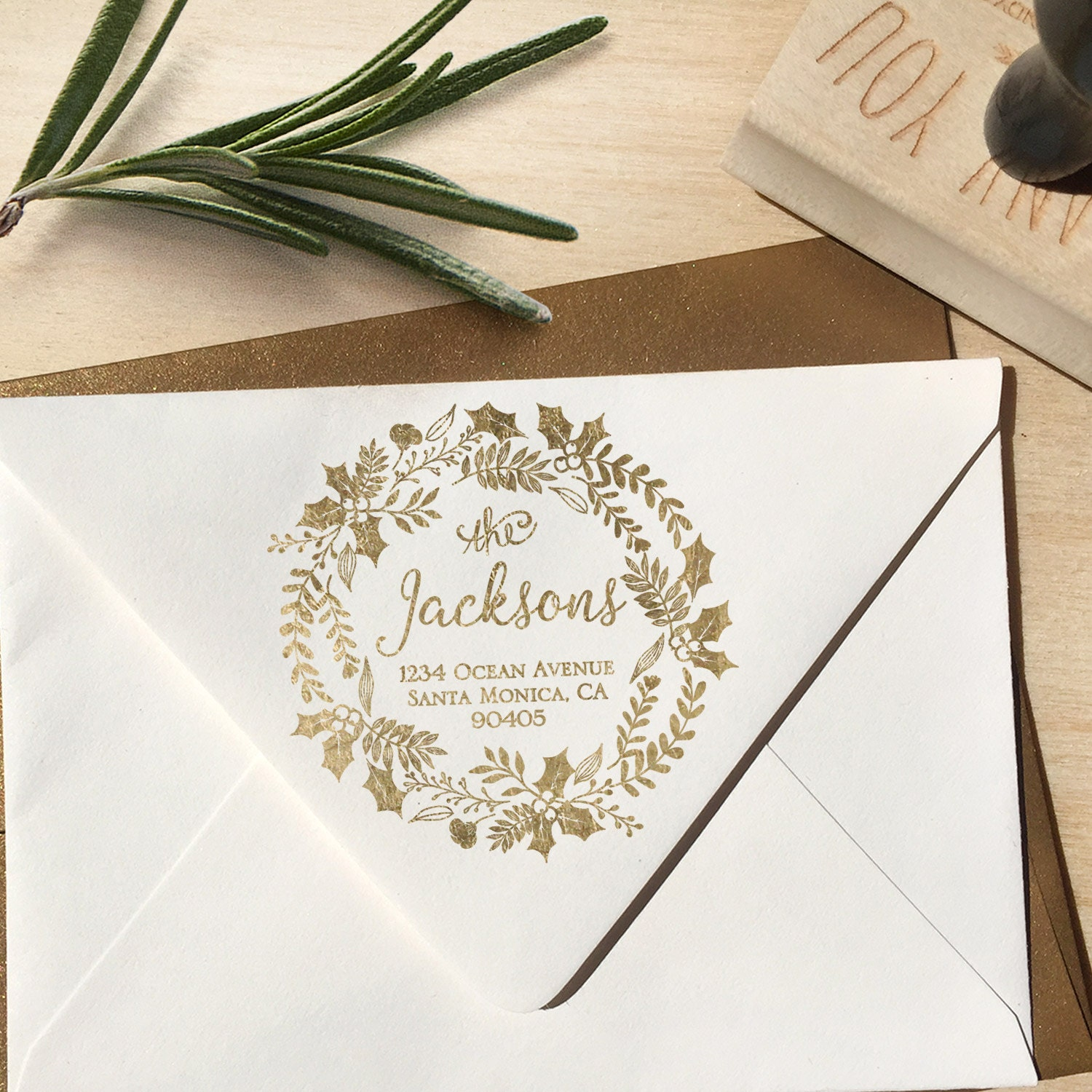 Christmas Holiday Return Address Stamp with a beautiful Wreath