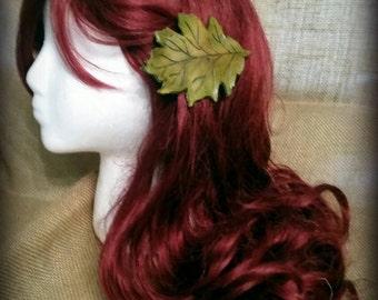 Leather Leaf Barrette