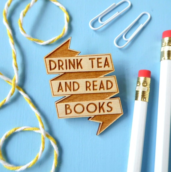 Tea and Books Wooden Brooch. Pin Badge Button. Library. Literary Gifts. Book Gifts. Literary Jewellery. Wooden Jewellery. Book Jewellery.