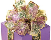 """Winery Grapes Glitter Sheer Wire Edge Ribbon 4 yards 1 1/2"""", DIY supply, wreath, floral, party"""