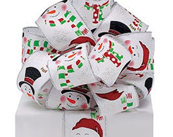 """White Glitter Snowman Silver Wire Edge Shimmer Ribbon 2 1/2"""" 3 yards, DIY supply, wreath, bow, christmas fun, gifts"""