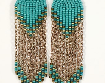 Turquoise Glass & Brass Chain Seed Beaded Fringe Earrings