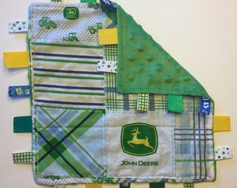 ADORABLE Handmade Tag Security - Boy John Deere Theme - Quilt Blue Green Tractor