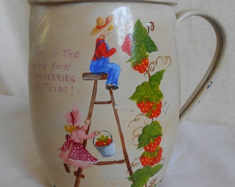 Vintage Metal Pitcher has been Hand Painted Tole Painting with Children and Strawberries