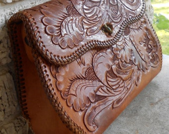 Vintage Handmade Tooled Leather Purse Cowgirl Chic
