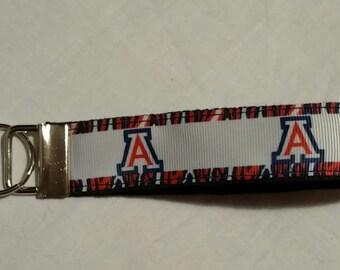 Handcrafted NCAA University of Arizona Wildcats Key Chain Wristlet NEW