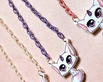 Bubbles - kawaii unicorn cat: original acrylic kitty charm necklace