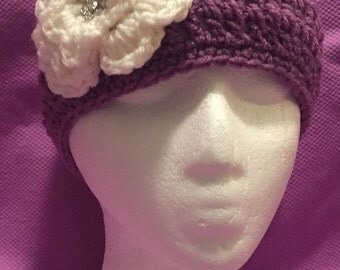 Soft Purple Crocheted Beanie w/Ivory Flower w/Crystal Button One Size Fits Most Adults/Teens 151