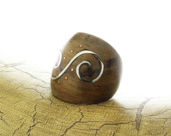 Wood Metal Ring, Organic Sono Wood Silver Spiral Swirl Handmade Ring, Wood Inlay Ring, Metal Wood Ring, Wooden Jewelry