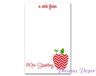 Personalized Teacher note pads Personalized teacher gift Personalized teacher red chevron apple notepad apple note pad