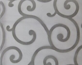 "Spiral Flocked Organza Fabric - GRAY - 60"" Width Sold By The Yard"