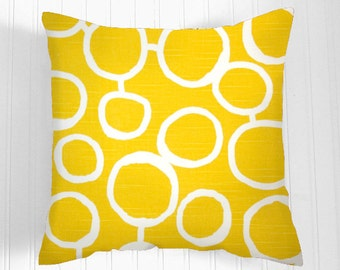 CLEARANCE 50 % Off Decorative Throw Pillows Accent Pillows Throw Pillow Cushion Covers 20 x 20 Inches - Yellow and White Geometric Design