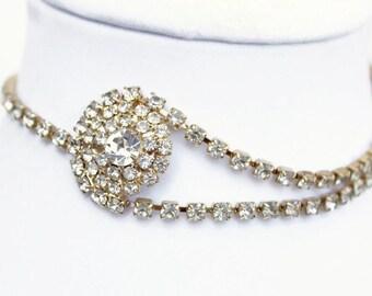 Vintage Rhinestone Choker Necklace, Wedding Jewelry, Costume Jewelry, Circa 1950's