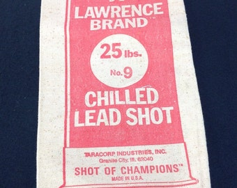 """Lawrence Brand No. 7 1/2 Chilled Lead Shot Canvas Ammo Bag Taracorp Made In USA Group """"B"""""""