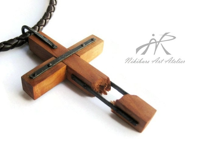 Mens Wrought Copper Wood Cross Necklace Wooden Cross