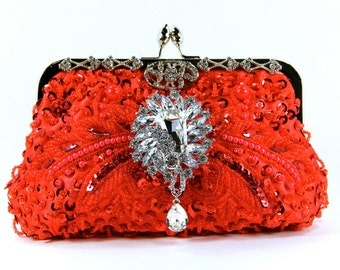 Red Purse ~ Red Beaded Purse - Red Beaded Evening Bag- Red Beaded Clutch - Gorgeous Red beaded wedding purse, Evening Bag - Red Purse