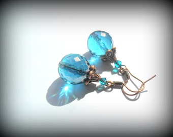 Vintage Facet Marine Blue Czech Glass with Swarovski Crystal and Antique Copper Ornate Earrings