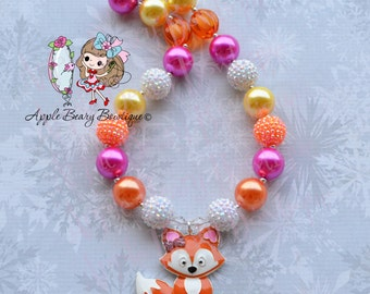 Fox Necklace Girly Fox chunky necklace  Fall Bubblegum Necklace Fox Bubblegum Necklace Woodland Creatures