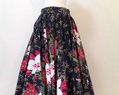 1950's Flowered Gathered Skirt